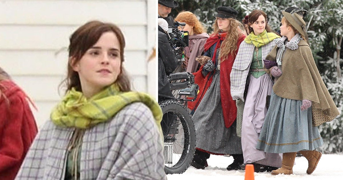 Emma Watson gets into character on Little Women set and we feel cold just looking at it