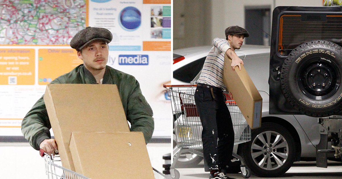 Brooklyn Beckham hits up Sainsbury's in paint-splattered trousers as he picks up some cheeky flat packs