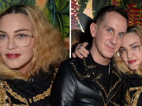 Madonna is dripping in gold as she supports Jeremy Scott at Moschino x H&M launch