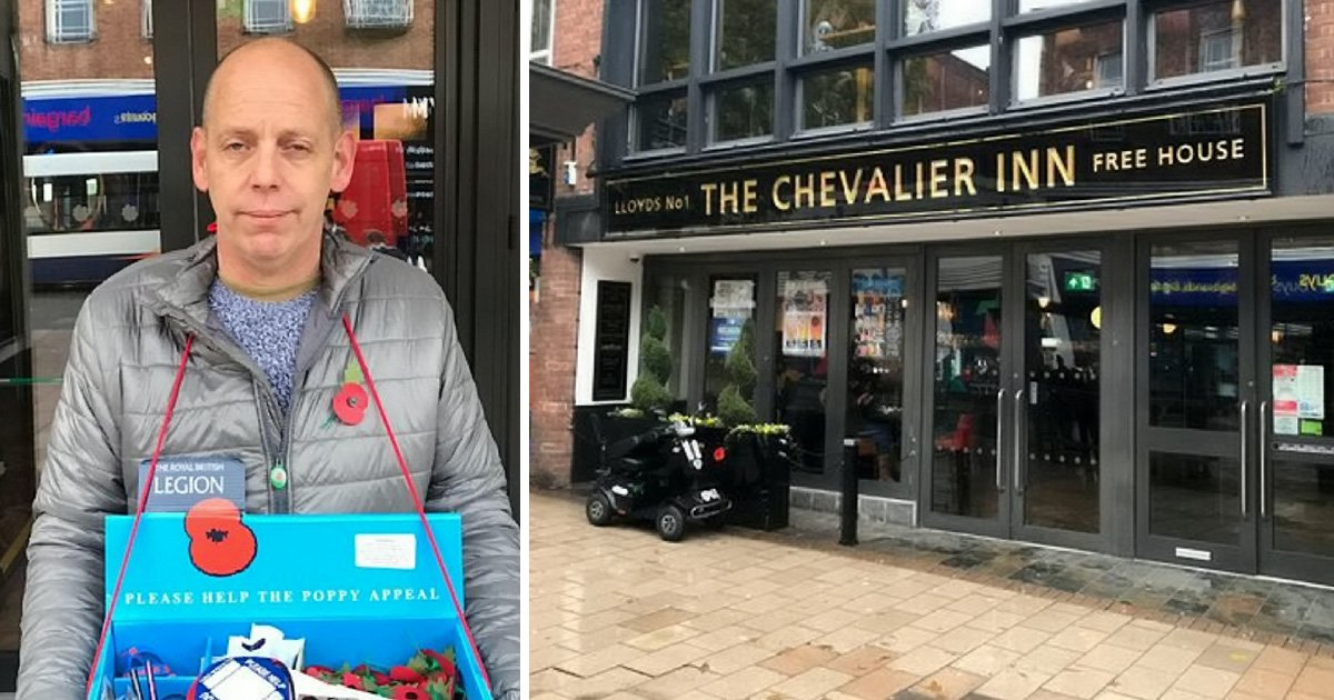 Poppy seller forced to stand in rain by Wetherspoon staff