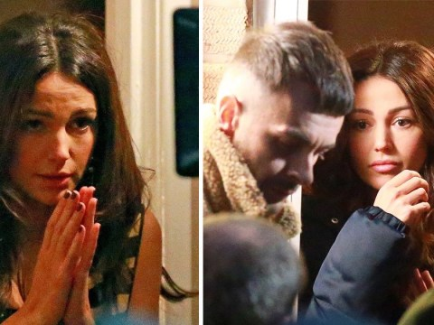 Michelle Keegan breaks some bad news to Joe Gilgun as she shoots new show Brassic in Manchester