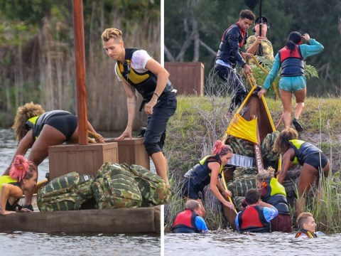 I'm A Celebrity: Holly Willoughby and Declan Donnelly watch on as celebs capsize in hilarious canoe challenge