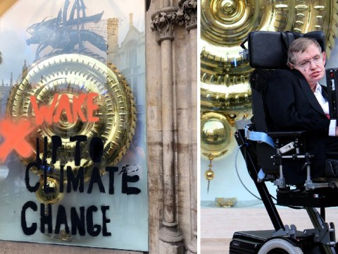 Cambridge students graffiti famous clock unveiled by Stephen Hawking