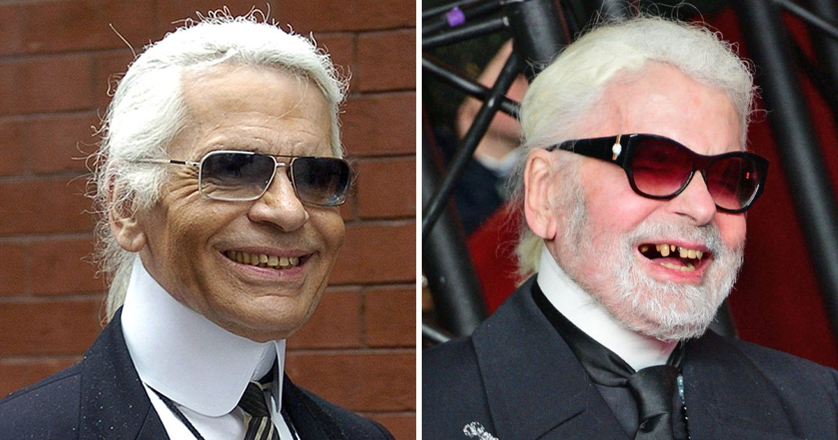 Karl Lagerfeld unveils missing tooth as he turns on Christmas lights for Paris' Avenue des Champs-Elysées