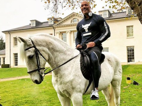 Dwayne Johnson lives it up as he moves into 'Brad and Ange's massive Surrey mansion'