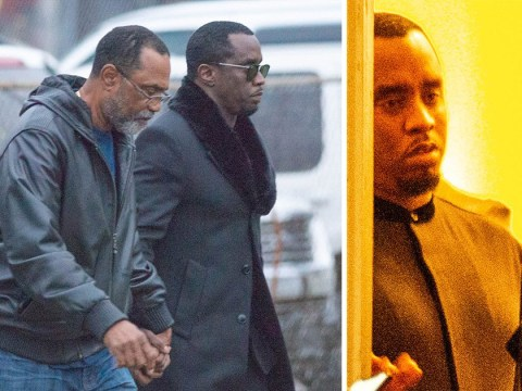 Diddy looks emotional as he attends private viewing of Kim Porter at funeral home