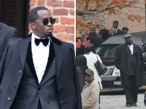 Diddy arrives at Kim Porter's funeral among crowds of mourners after posting emotional tribute