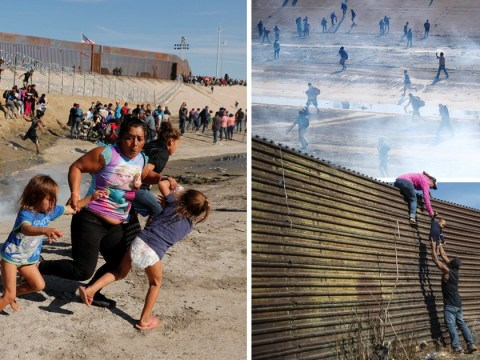 Children shot with rubber bullets and tear gas by US troops at Mexican border