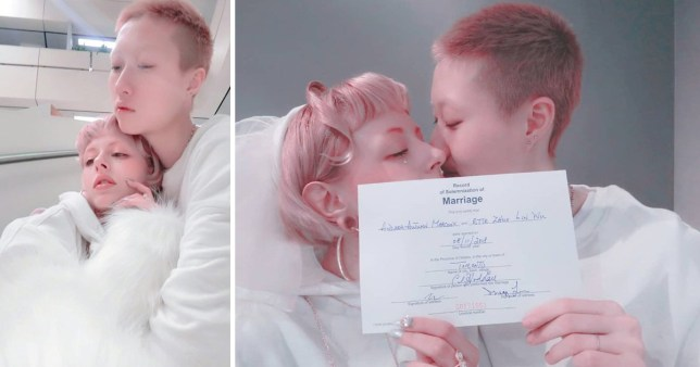 The 19-year-old daughter of martial arts actor Jackie Chan has tied the knot with her 31-year-old celebrity girlfriend
