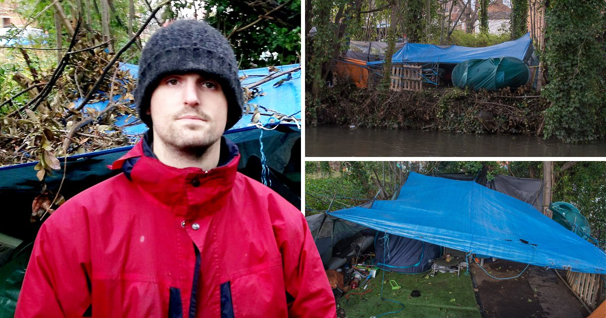 Homeless soldier is battling PTSD in makeshift camp on river bank