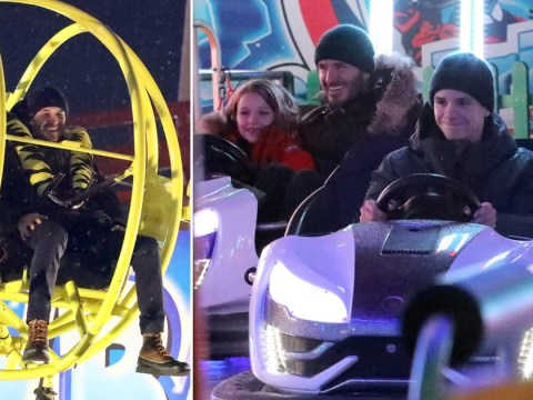 David Beckham enjoys festive day out at Winter Wonderland after backlash over kissing Harper on lips