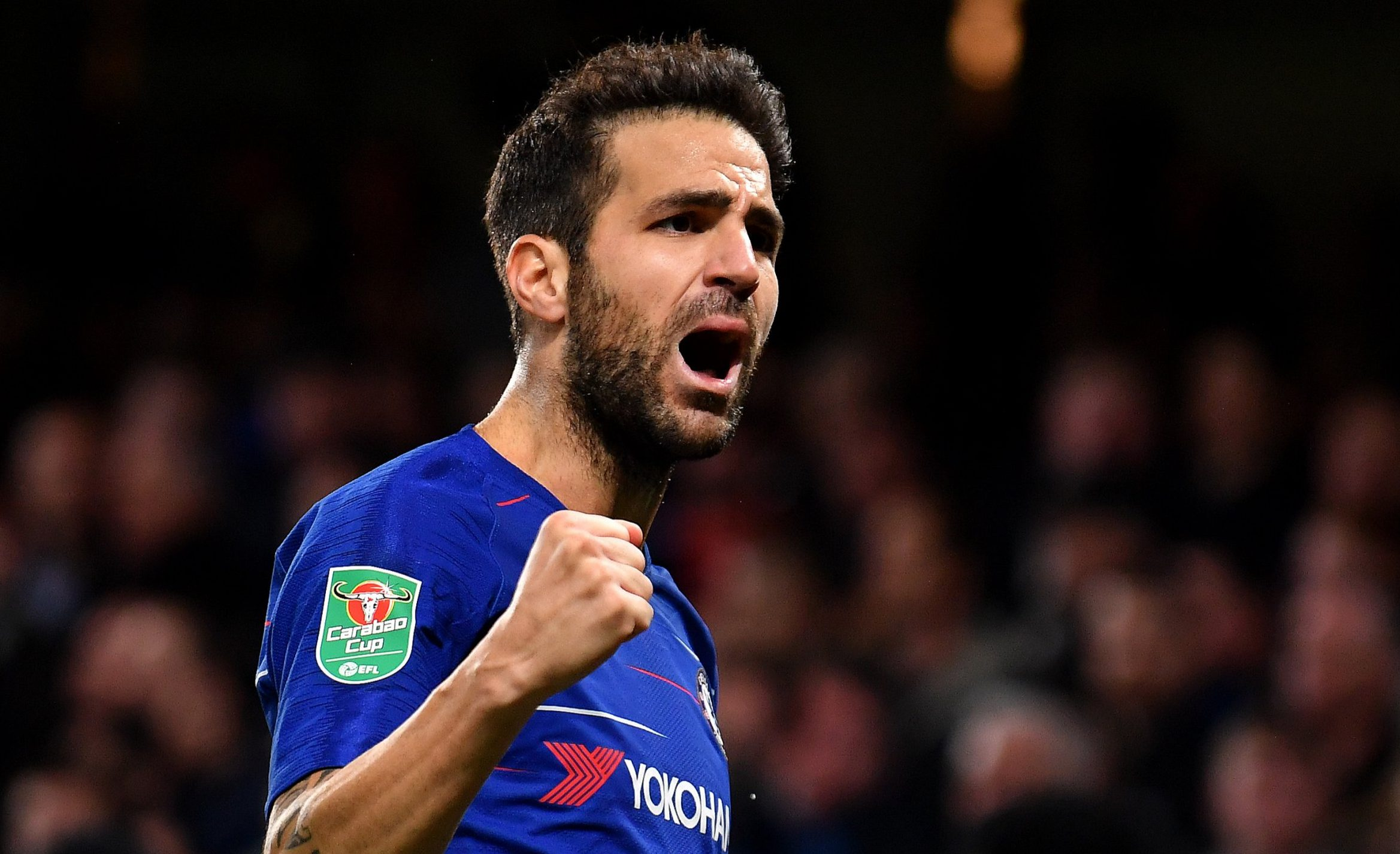 LONDON, ENGLAND - OCTOBER 31: Cesc Fabregas of Chelsea celebrates after scoring his team's third goal during the Carabao Cup Fourth Round match between Chelsea and Derby County at Stamford Bridge on October 31, 2018 in London, England. (Photo by Mike Hewitt/Getty Images)
