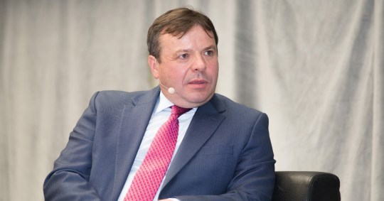 Mandatory Credit: Photo by James Perrin/REX/Shutterstock (8553837j) Arron Banks Talks on stage to investors at the Master Investors, about investment post Brexit, Islington Design Centre, London UK Master Investor show, London, UK - 25 Mar 2017