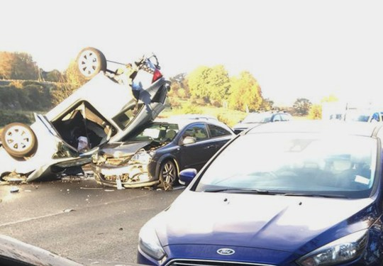 Miracle' as no serious injuries in 20 car pile-up on M8