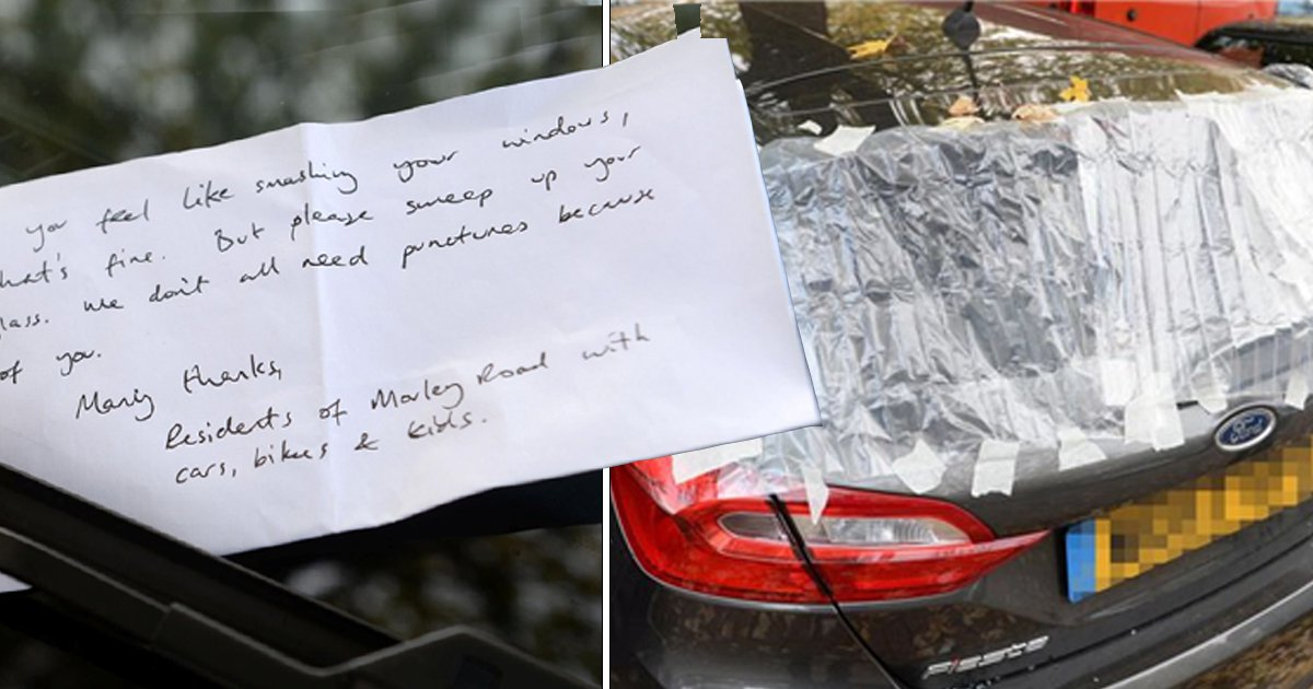 Victim of car break-in finds note telling her to clean up broken glass