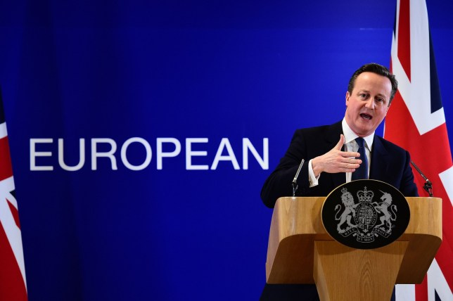 TOPSHOT - British Prime Minister David Cameron addresses a press conference at end of an European Union (EU) summit in Brussels on February 19, 2016. European leaders sealed a deal with the UK after hours of haggling at a marathon summit, paving the way for a referendum on whether Britain will stay in the EU. The European Union's two top figures, Donald Tusk and Jean-Claude Juncker, presented its 28 leaders with draft proposals at a long-delayed dinner after hours of painstaking face-to-face talks on an issue that threatened place in the union. / AFP / EMMANUEL DUNAND (Photo credit should read EMMANUEL DUNAND/AFP/Getty Images)