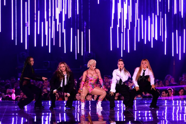 Nicki Minaj performs on stage with Leigh-Anne Pinnock, Jade Thirlwall, Perrie Edwards and Jesy Nelson of Little Mix at the MTV Europe Music Awards 2018 held at the Bilbao Exhibition Centre, Spain. PRESS ASSOCIATION Photo. Picture date: Sunday November 4, 2018. See PA story SHOWBIZ MTV. Photo credit should read: Ian West/PA Wire