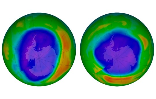 This combination of images made available by NASA shows areas of low ozone above Antarctica on September 2000, left, and September 2018. The purple and blue colors are where there is the least ozone, and the yellows and reds are where there is more ozone. A United Nations report released on Monday, Nov. 5, 2018 says Earth???s protective ozone layer is finally healing after aerosol sprays and coolants ate away at it. (NASA via AP)