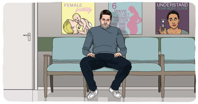 Illustration of a man looking sad sitting in a fertility clinic