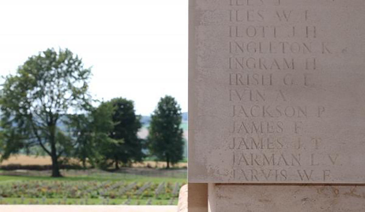 Seven letters on a memorial which has the names of 73, 367 men who went missing during The Battle of The Somme during World War One. Irish G.F. is etched on the Thiepval Memorial to mark the sacrifice of Redditch war hero George Frederick Irish.
