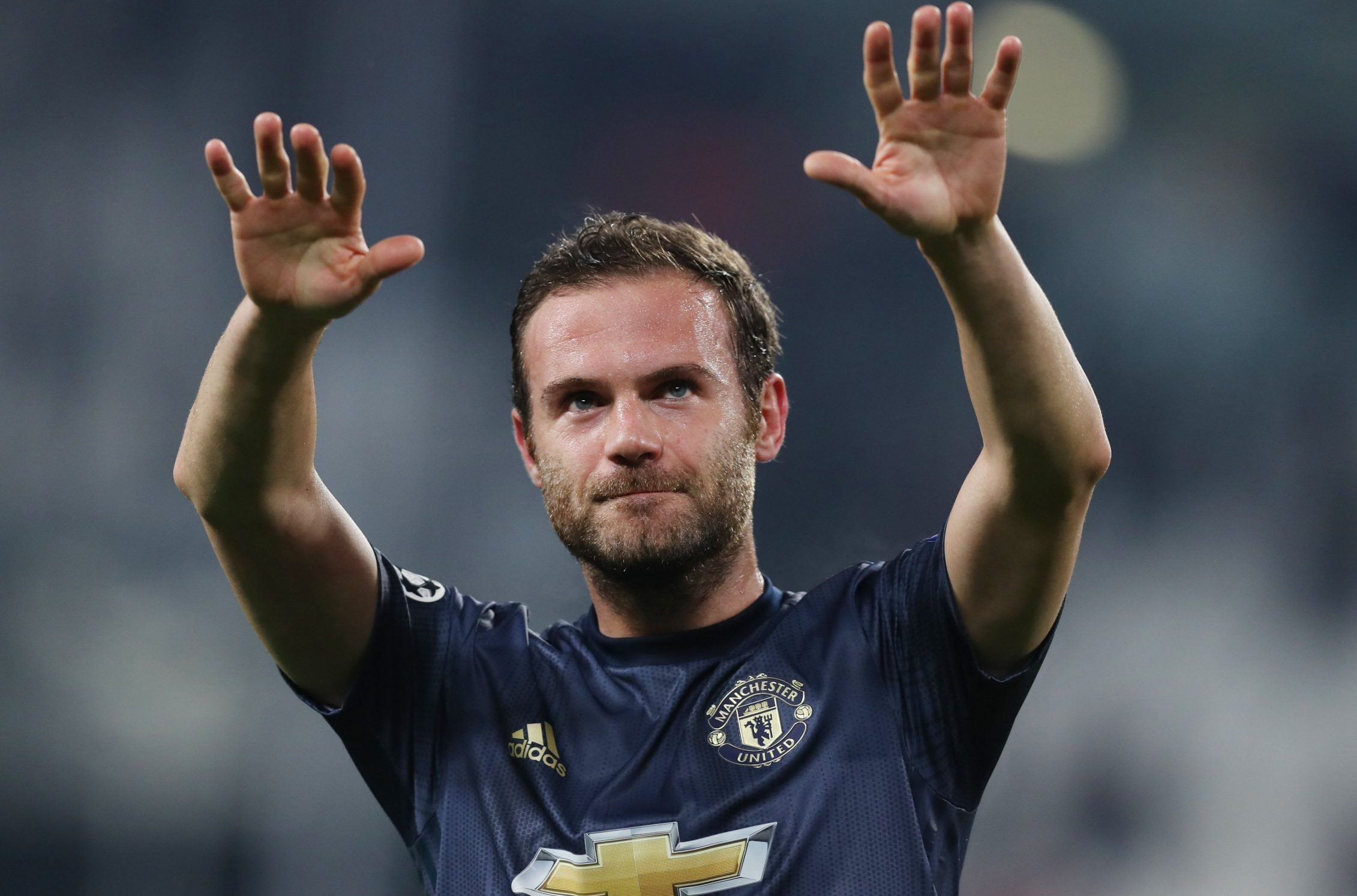 Mandatory Credit: Photo by Paul Currie/BPI/REX (9970191co) Juan Mata of Manchester United celebrates at full time Juventus v Manchester United, UEFA Champions League Group H, Football, Allianz Stadium, Turin, Italy - 07 Nov 2018