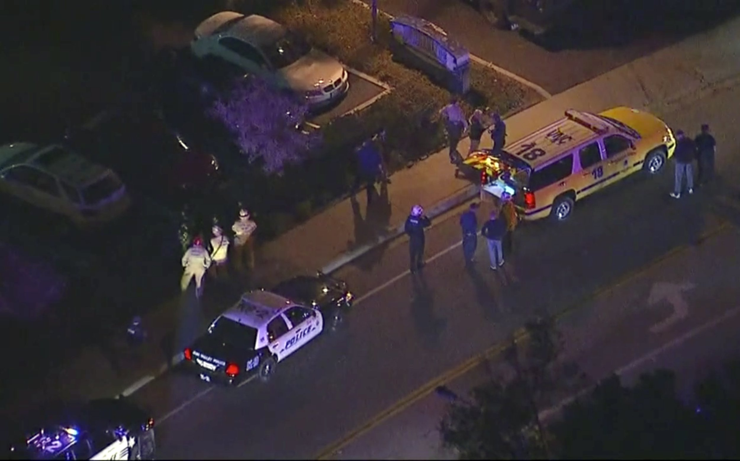 In this image made from aerial video, police vehicles line a road in the vicinity of a shooting in Thousand Oaks, California, early Thursday, Nov. 8, 2018. Authorities say there were multiple injuries _ including one officer _ after a man opened fire in Southern California bar late Wednesday. (KABC via AP)