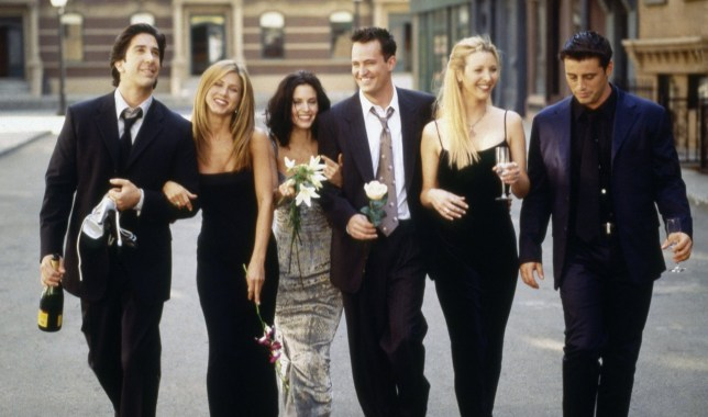 FRIENDS -- Season 6 -- Pictured: (l-r) David Schwimmer as Ross Geller, Jennifer Aniston as Rachel Green, Courteney Cox as Monica Geller, Matthew Perry as Chandler Bing, Lisa Kudrow as Phoebe Buffay, Matt LeBlanc as Joey Tribbiani -- (Photo by: NBC/NBCU Photo Bank via Getty Images)