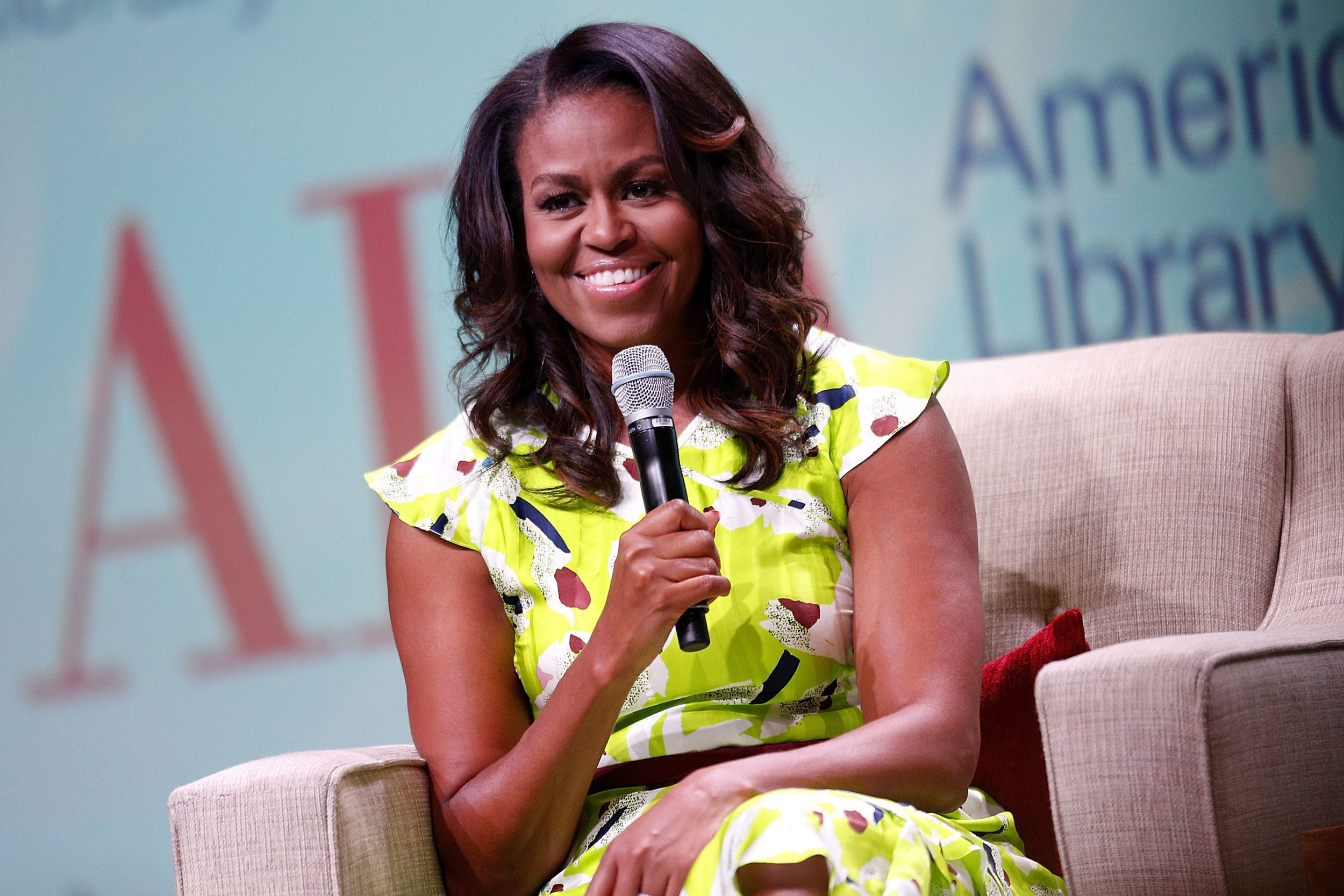 "NEW ORLEANS, LA - JUNE 22: Former U.S. first lady Michelle Obama discusses her forthcoming memoir titled, ""Becoming"", during the 2018 American Library Association Annual Conference on June 22, 2018 in New Orleans, Louisiana. (Photo by Jonathan Bachman/Getty Images)"