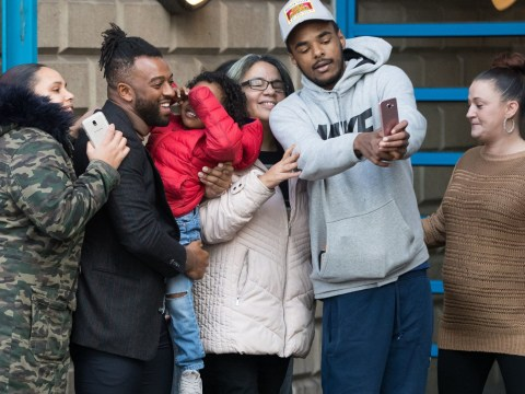 Oritse Williams takes selfies outside court after pleading not guilty to rape