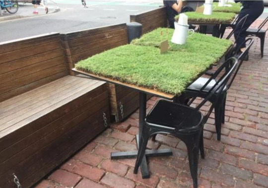 Grass table at restaurant