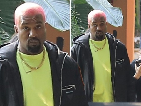 Kanye West emerges with pink hair after fleeing Tekashi69 music video shooting