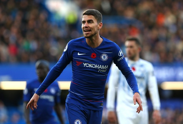 LONDON, ENGLAND - NOVEMBER 11: Jorginho of Chelsea FC in action during the Premier League match between Chelsea FC and Everton FC at Stamford Bridge on November 11, 2018 in London, United Kingdom. (Photo by Chloe Knott - Danehouse/Getty Images)