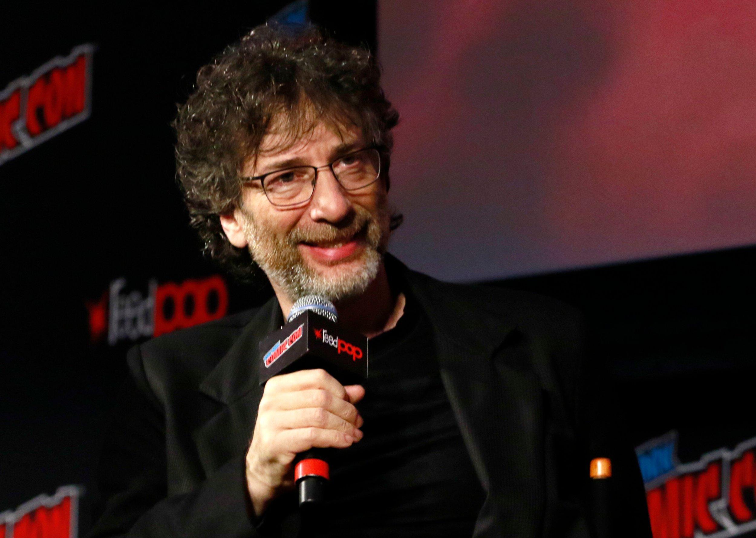 Mandatory Credit: Photo by MediaPunch/REX/Shutterstock (9916318o) Neil Gaiman 'Good Omens' TV show panel, New York Comic Con, USA - 06 Oct 2018