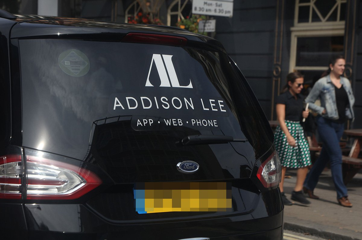 Mandatory Credit: Photo by Richard Gardner/REX/Shutterstock (9856393v) Addison Lee minicab, Tottenham Court Road Stock, London, UK - Sep 2018