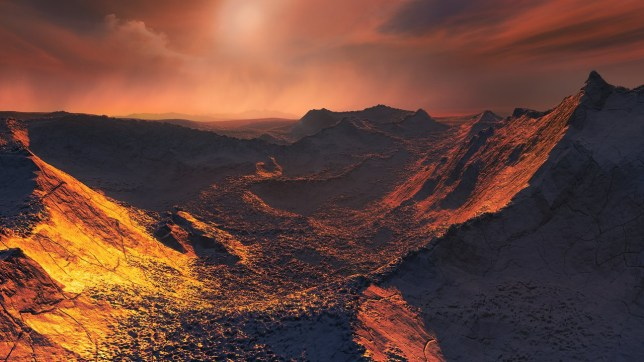 The nearest single star to the Sun hosts an exoplanet at least 3.2 times as massive as Earth ??? a so-called super-Earth. Data from a worldwide array of telescopes, including ESO???s planet-hunting HARPS instrument, have revealed this frozen, dimly lit world. The newly discovered planet is the second-closest known exoplanet to the Earth and orbits the fastest moving star in the night sky. This image shows an artist???s impression of the planet???s surface.