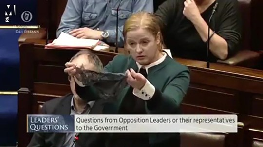 Irish MP Ruth Coppinger protested by holding up lacy underwear in parliament - A series of protests over sexual consent are planned in Ireland, a week after a man was acquitted of raping a 17-year-old.