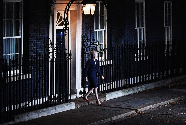 LONDON, ENGLAND - NOVEMBER 14: British Prime Mininster, Theresa May walks out of Number 10 to deliver a Brexit statement at Downing Street on November 14, 2018 in London, England. Theresa May addresses the nation after her cabinet of senior ministers met and approved the wording of the draft Brexit agreement which will see the UK leave the European Union on March 29th 2019. (Photo by Leon Neal/Getty Images)