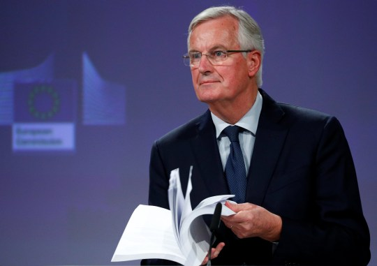 European Union's chief Brexit negotiator Michel Barnier delivers a statement after Britain's Prime Minister Theresa May's cabinet meeting, in Brussels, Belgium, November 14, 2018. REUTERS/Francois Lenoir