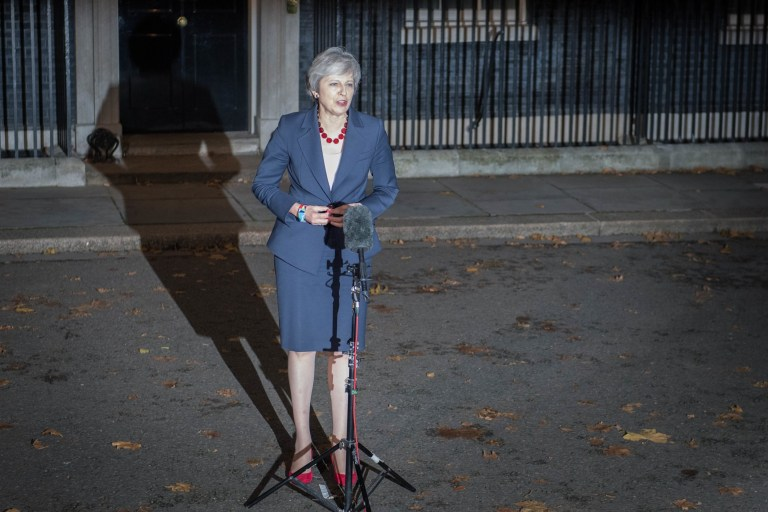 Prime Minister Theresa May makes a statement outside 10 Downing Street, London, confirming that Cabinet has agreed the draft Brexit withdrawal agreement. PRESS ASSOCIATION Photo. Picture date: Wednesday November 14, 2018. See PA story POLITICS Brexit. Photo credit should read: Stefan Rousseau/PA Wire