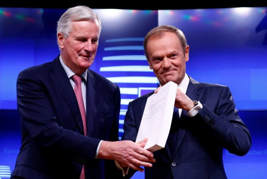 European Union's chief Brexit negotiator Michel Barnier meets European Council President Donald Tusk to hand over the Brexit draft text in Brussels, Belgium, November 15, 2018. REUTERS/Francois Lenoir