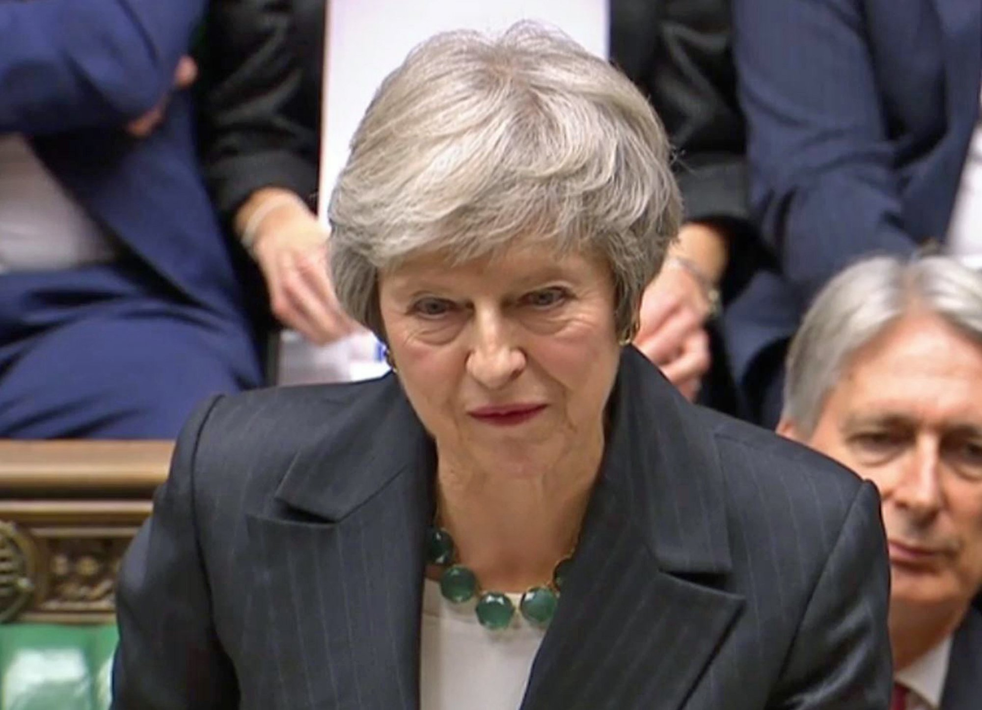 Prime Minister Theresa May makes a statement on the draft Brexit withdrawal agreement in the House of Commons, London. PRESS ASSOCIATION Photo. Picture date: Thursday November 15, 2018. See PA story POLITICS Brexit. Photo credit should read: PA Wire