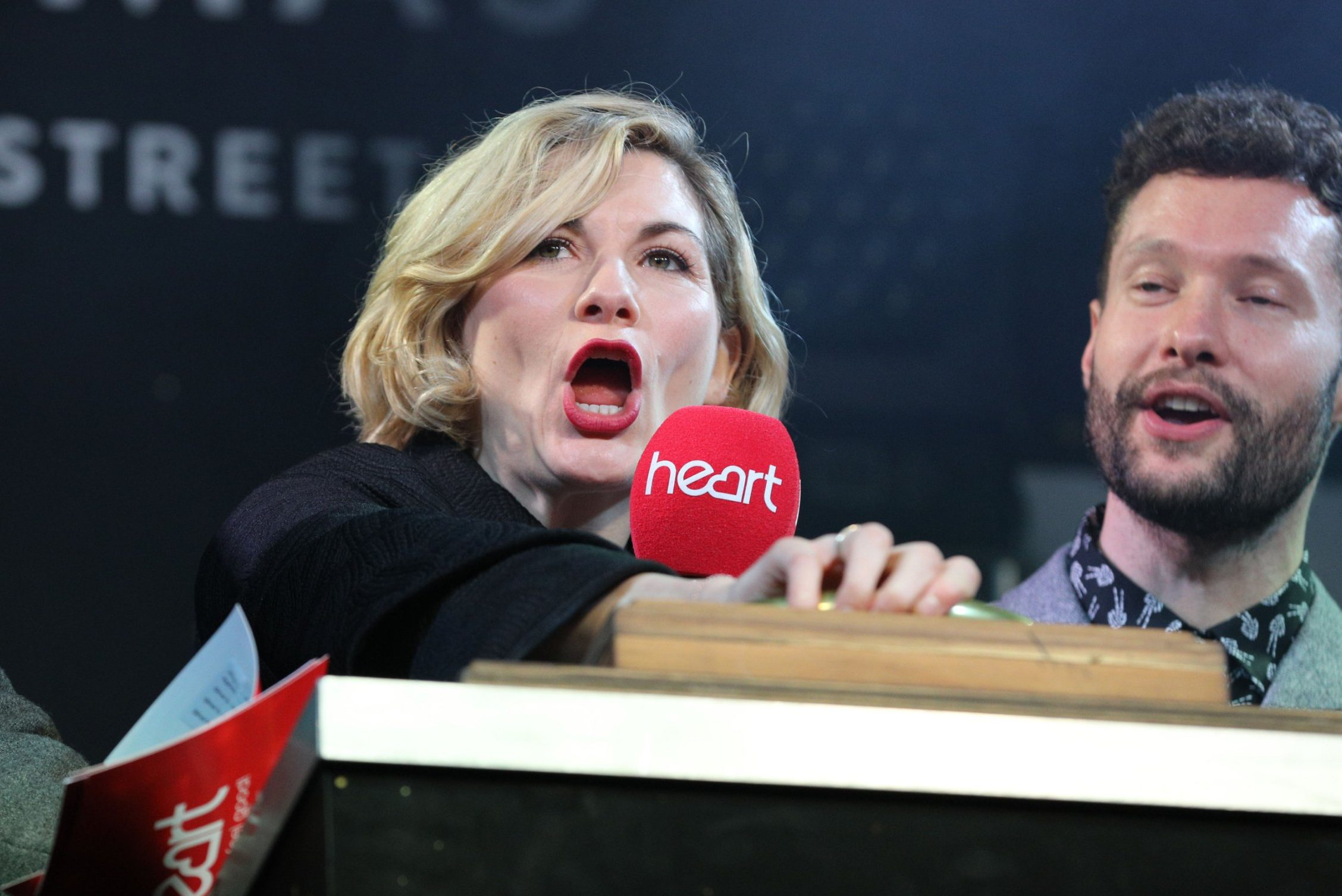 Mandatory Credit: Photo by Imageplotter/REX (9980914u) British Dr. Who actress Jodie Whittaker, Jamie Theakston and Sian Welby Regent Street Christmas Lights switch-on, London, UK - 15 Nov 2018 The official switch-on of the largest lights installation in the capital, Regent Street's 'The Spirit of Christmas' is celebrated once again in style.