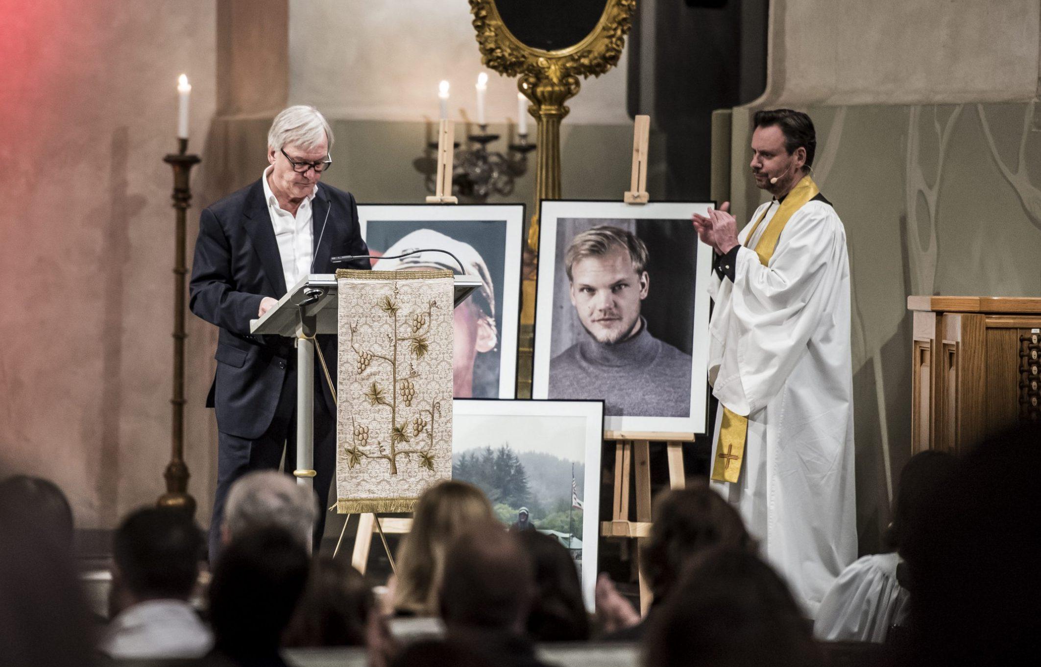 Mandatory Credit: Photo by IBL/REX (9982560t) Avicii's father, Klas Bergling, gives a speech Avicii Memorial Service, Stockholm, Sweden - 16 Nov 2018