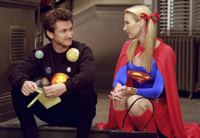 """FRIENDS -- """"The One with the Halloween Party"""" -- Epsiode 6 -- Aired 11/1/2001 -- Pictured: (l-r) Sean Penn as Eric as """"The Solar System"""", Lisa Kudrow as Phoebe Buffay as """"Supergirl"""" -- Photo by: NBCU Photo Bank"""