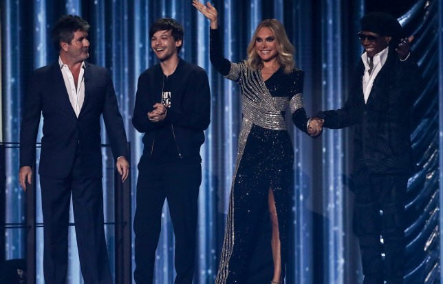 EDITORIAL USE ONLY - NO BOOK PUBLISHING Mandatory Credit: Photo by Dymond/Thames/Syco/REX (9982287i) Simon Cowell, Louis Tomlinson, Ayda Williams and Nile Rodgers 'The X Factor' TV show, Series 15, Episode 23, London, UK - 17 Nov 2018