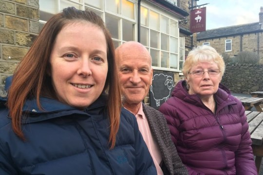 Wendy Gould with John Sandford and her mum Margaret outside The Fleece