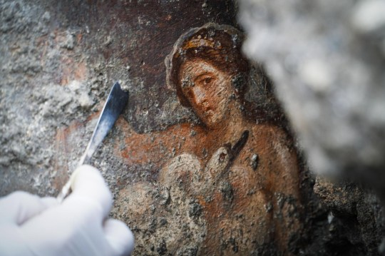 epa07176901 An archelogist works on the fresco ''Leda e il cigno'' (Leda and the swan) recently discovered in the Regio V archeological area in Pompeii, Naples district, Italy, 19 November 2018. EPA/CESARE ABBATE