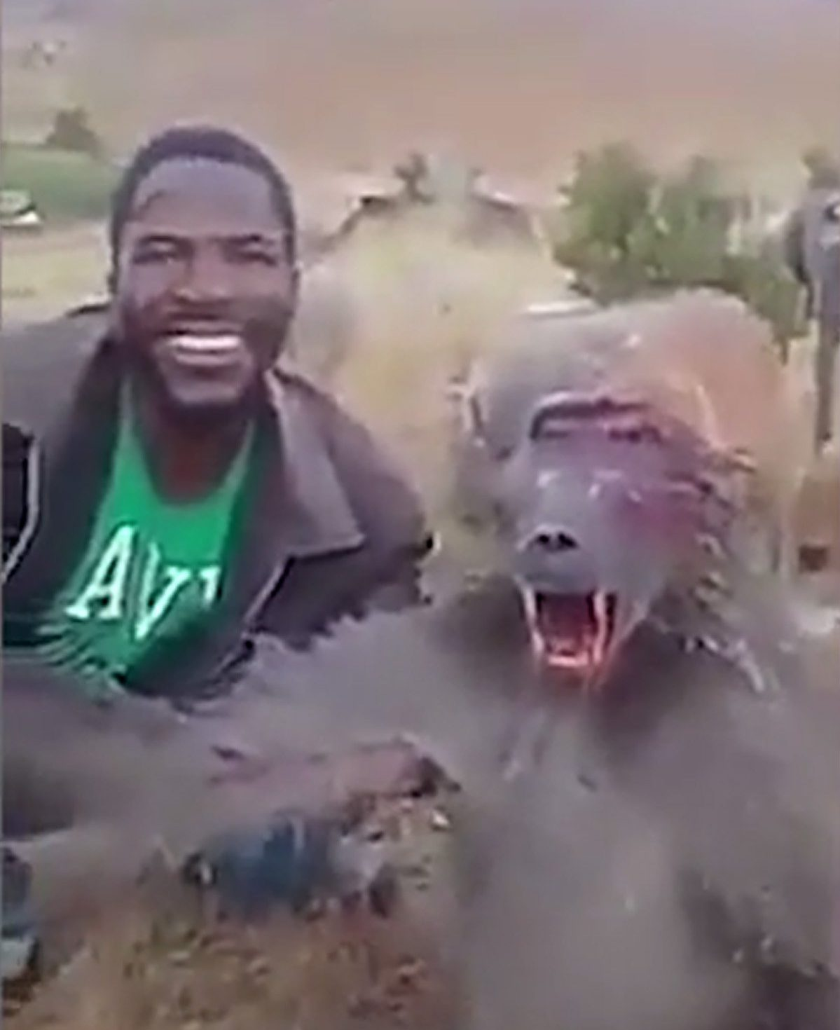 Hunter taunts baboon he's just killed asking 'does it hurt?' and saying 'stop complaining' METRO GRAB taken from: https://videos.metro.co.uk/video/met/2018/11/20/904207748527442142/1024x576_MP4_904207748527442142.mp4 Credit: NSPCA