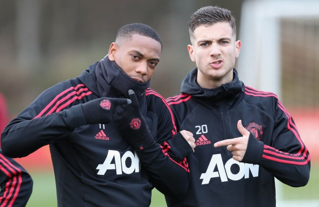 MANCHESTER, ENGLAND - NOVEMBER 20: (EXCLUSIVE COVERAGE) Anthony Martial and Diogo Dalot of Manchester United in action during a first team training session at Aon Training Complex on November 20, 2018 in Manchester, England. (Photo by John Peters/Man Utd via Getty Images)