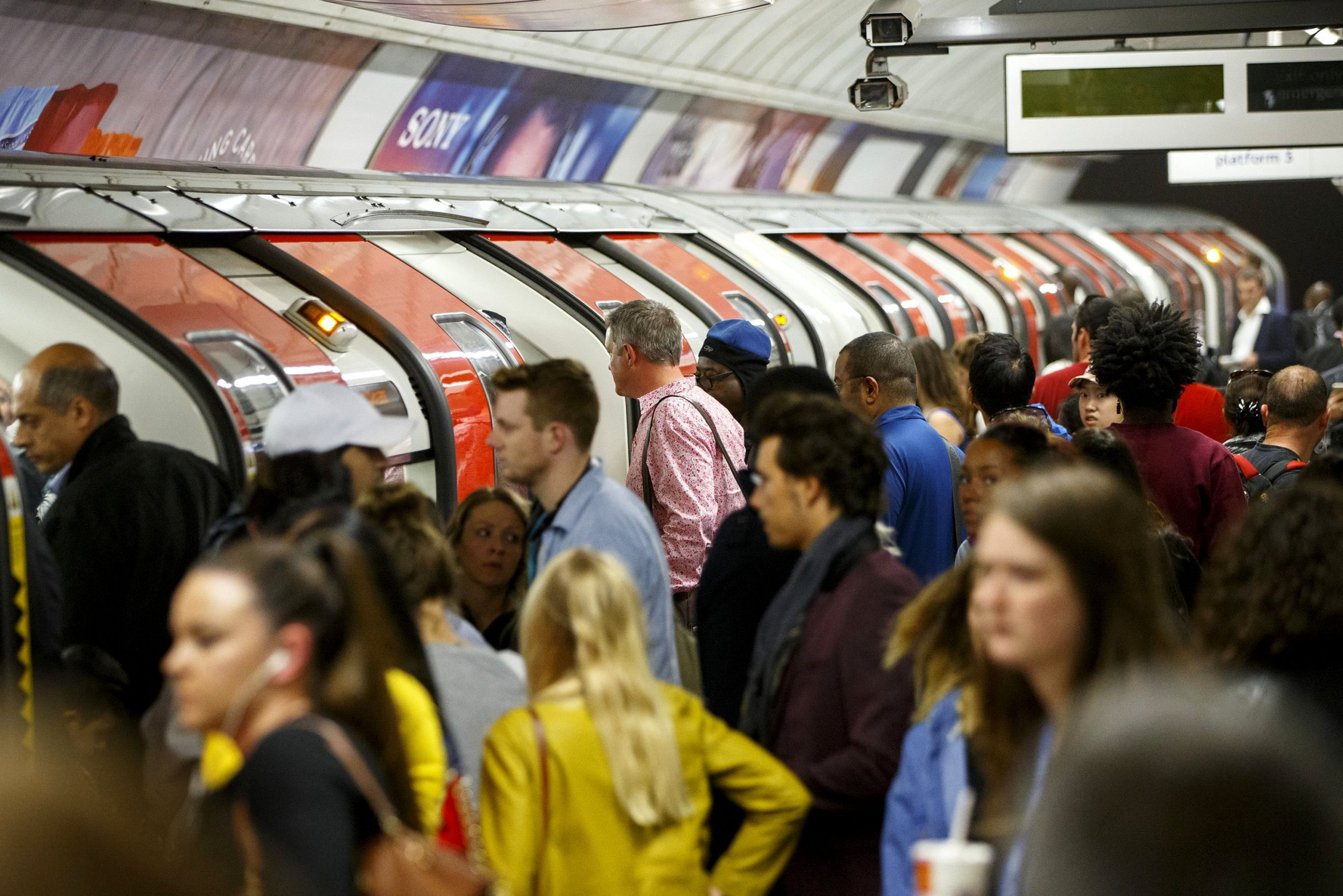 Mandatory Credit: Photo by Tolga Akmen/LNP/REX/Shutterstock (4929961e) Commuters queuing for tube trains at Oxford Circus Tube strike across London Underground network, Britain - 05 Aug 2015 The strike will be a 27-hour stoppage by about 20,000 Tube staff to shut down the entire London Underground network on the second strike over night 'service on parts of Tube, which will be starting on 12 September 2015.